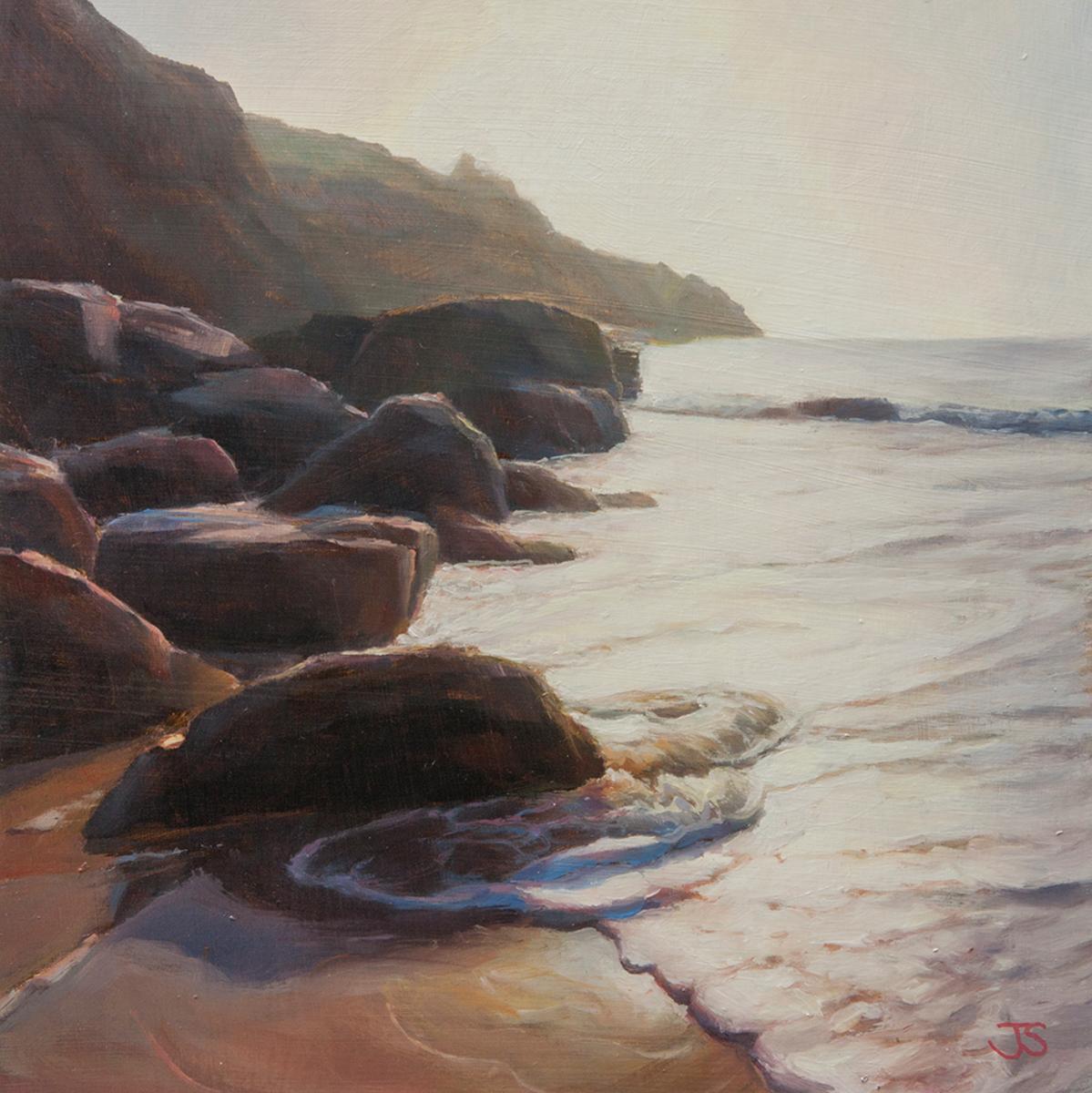 Housel Bay Rocks (oil on board) by Jerry Smith